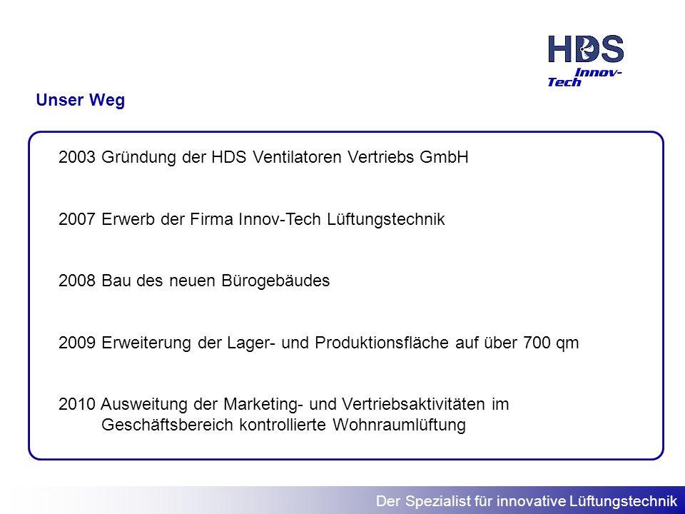 Unser Weg Gründung der HDS Ventilatoren Vertriebs GmbH. 2007 Erwerb der Firma Innov-Tech Lüftungstechnik.