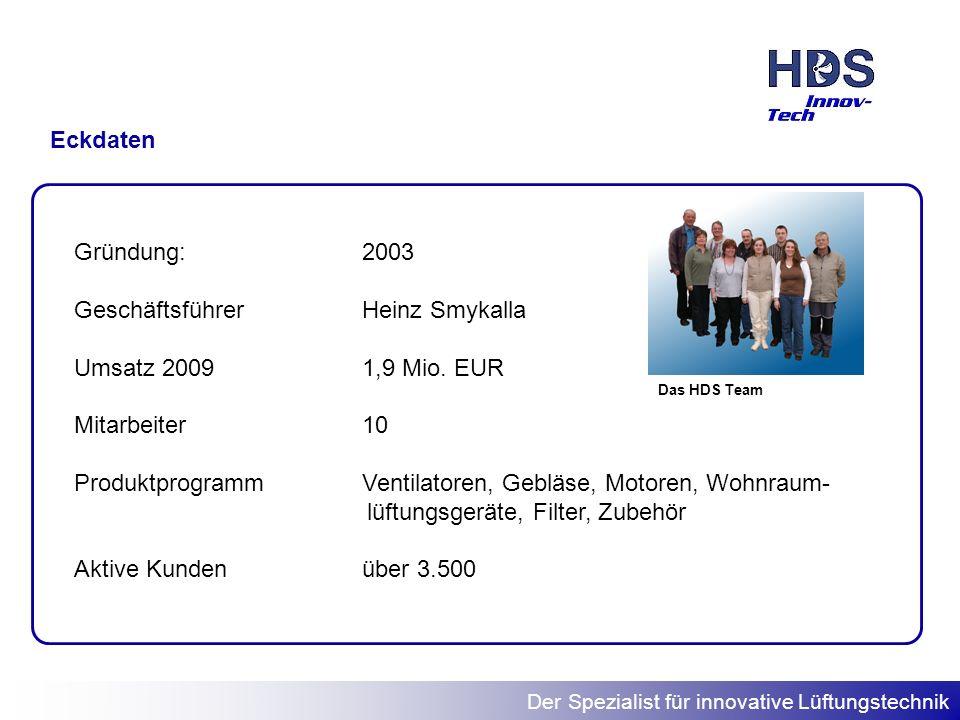 Geschäftsführer Heinz Smykalla Umsatz 2009 1,9 Mio. EUR Mitarbeiter 10