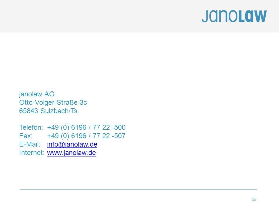 janolaw AG Otto-Volger-Straße 3c. 65843 Sulzbach/Ts. Telefon: +49 (0) 6196 / 77 22 -500. Fax: +49 (0) 6196 / 77 22 -507.