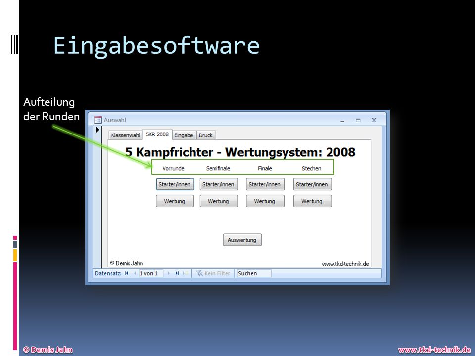 Eingabesoftware Aufteilung der Runden © Demis Jahn www.tkd-technik.de