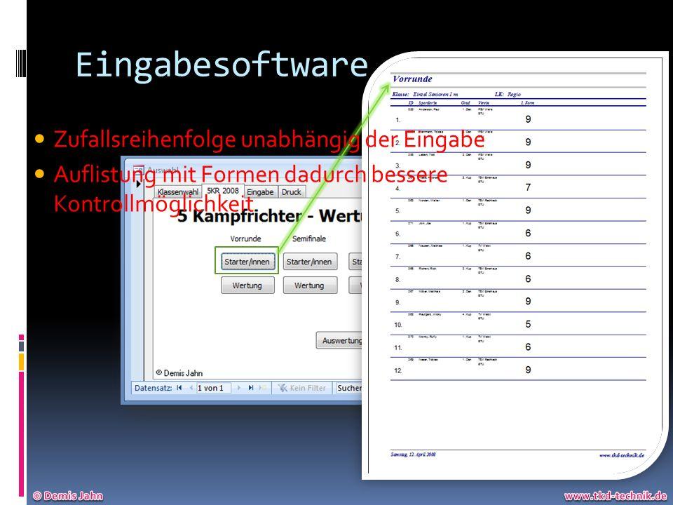 Eingabesoftware Zufallsreihenfolge unabhängig der Eingabe