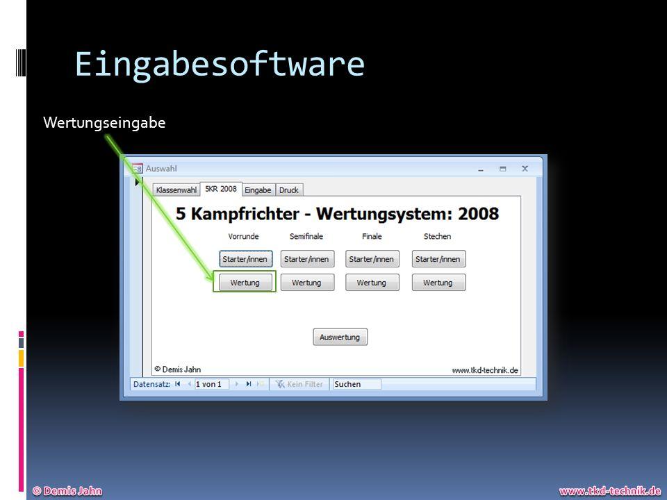 Eingabesoftware Wertungseingabe © Demis Jahn www.tkd-technik.de