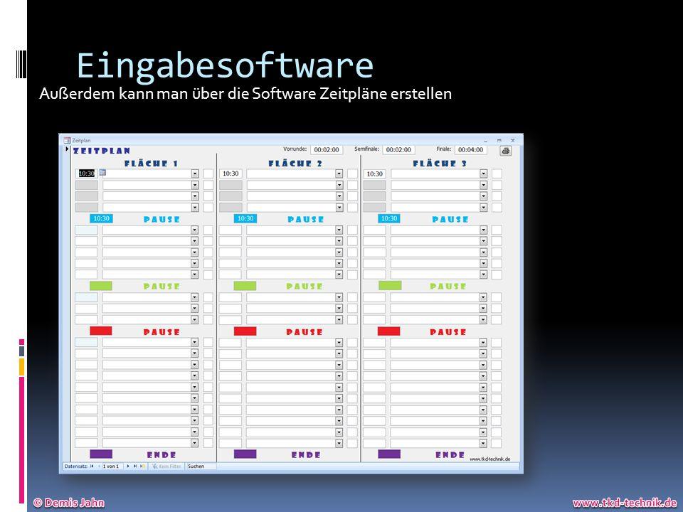 Eingabesoftware Außerdem kann man über die Software Zeitpläne erstellen.