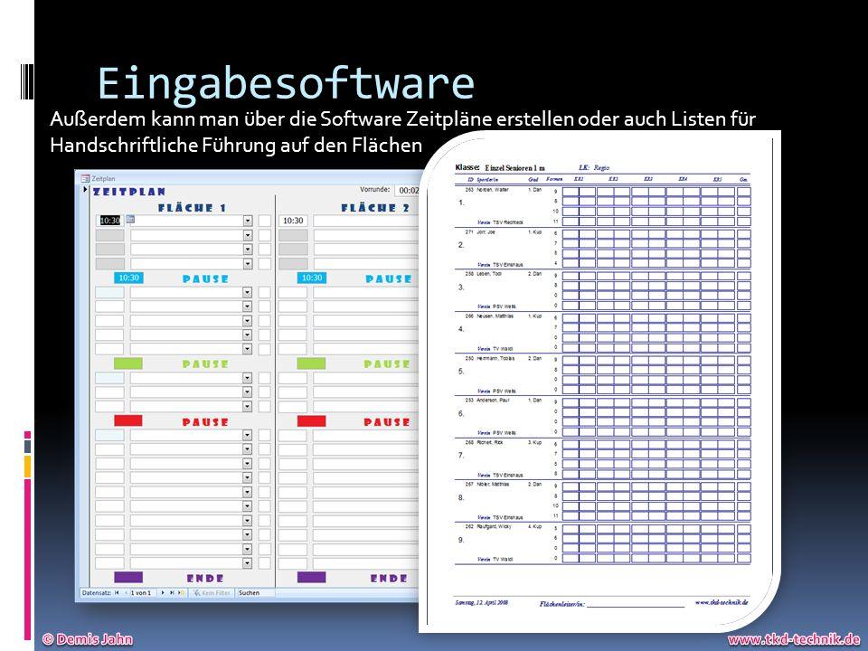 Eingabesoftware Außerdem kann man über die Software Zeitpläne erstellen oder auch Listen für. Handschriftliche Führung auf den Flächen.