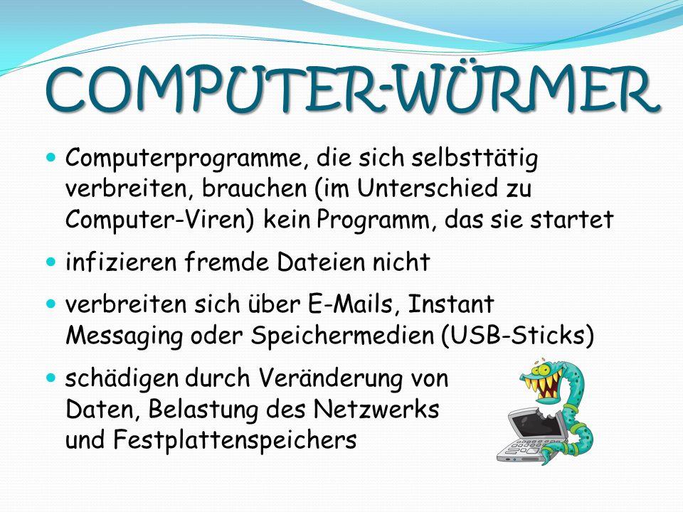 COMPUTER-WÜRMER Computerprogramme, die sich selbsttätig verbreiten, brauchen (im Unterschied zu Computer-Viren) kein Programm, das sie startet.