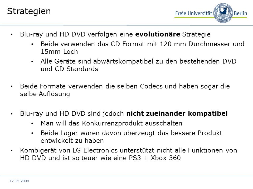 Strategien Blu-ray und HD DVD verfolgen eine evolutionäre Strategie