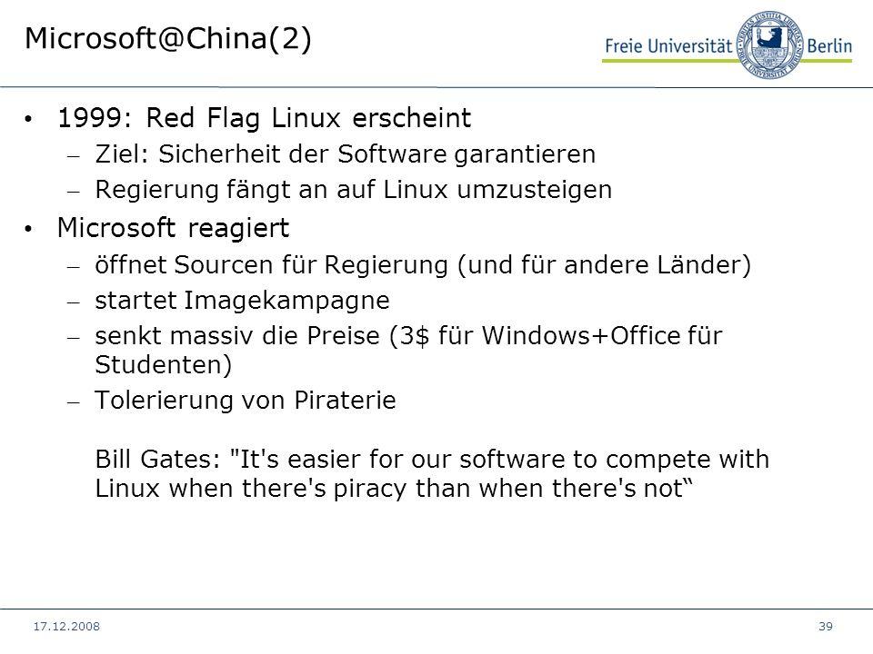 Microsoft@China(2) 1999: Red Flag Linux erscheint Microsoft reagiert