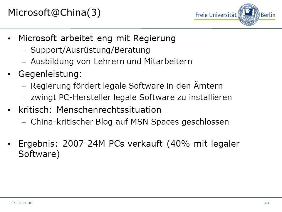Microsoft@China(3) Microsoft arbeitet eng mit Regierung Gegenleistung: