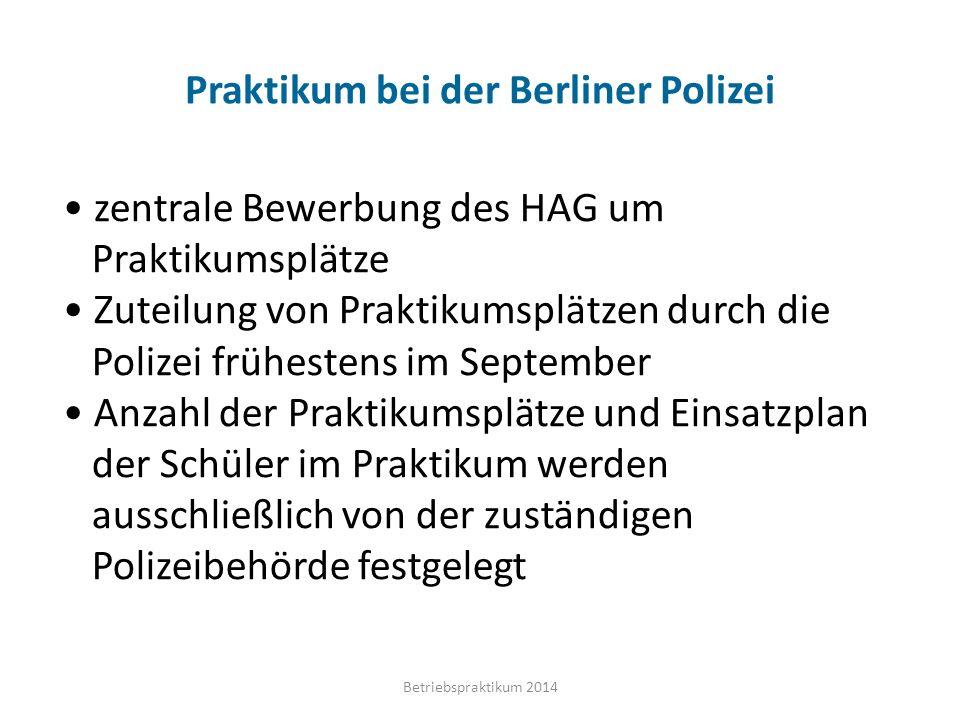 Praktikum bei der Berliner Polizei
