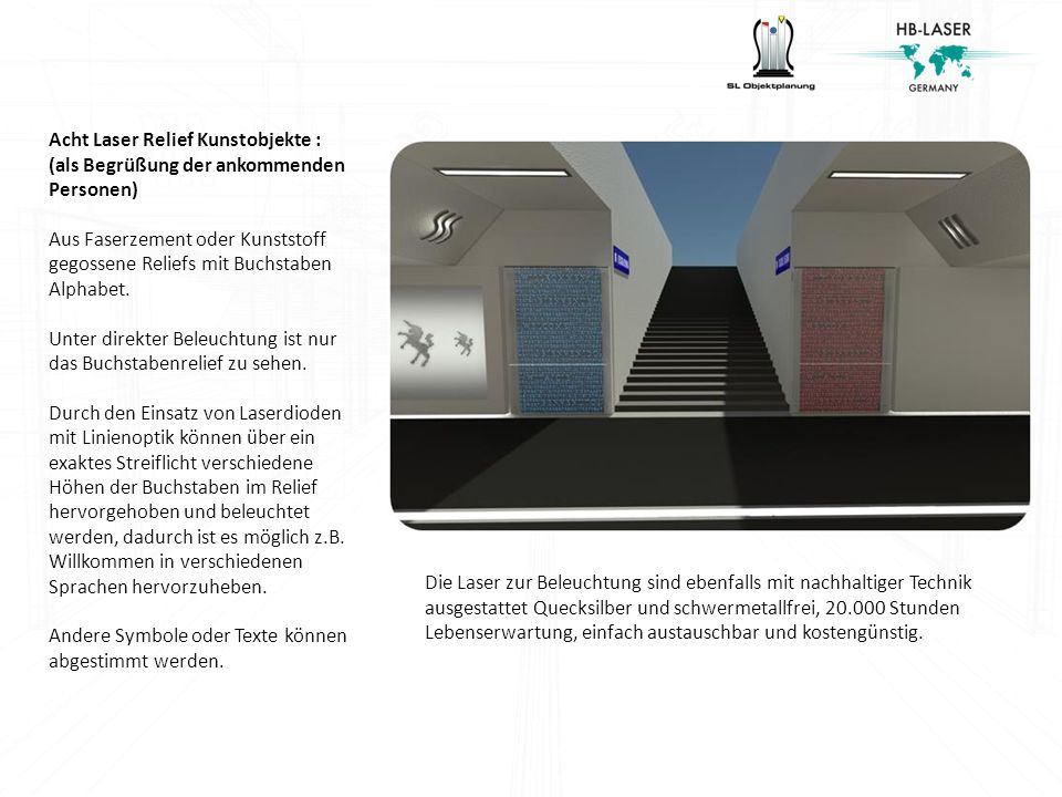 Acht Laser Relief Kunstobjekte :