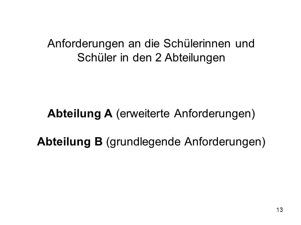 Anforderungen an die Schülerinnen und Schüler in den 2 Abteilungen
