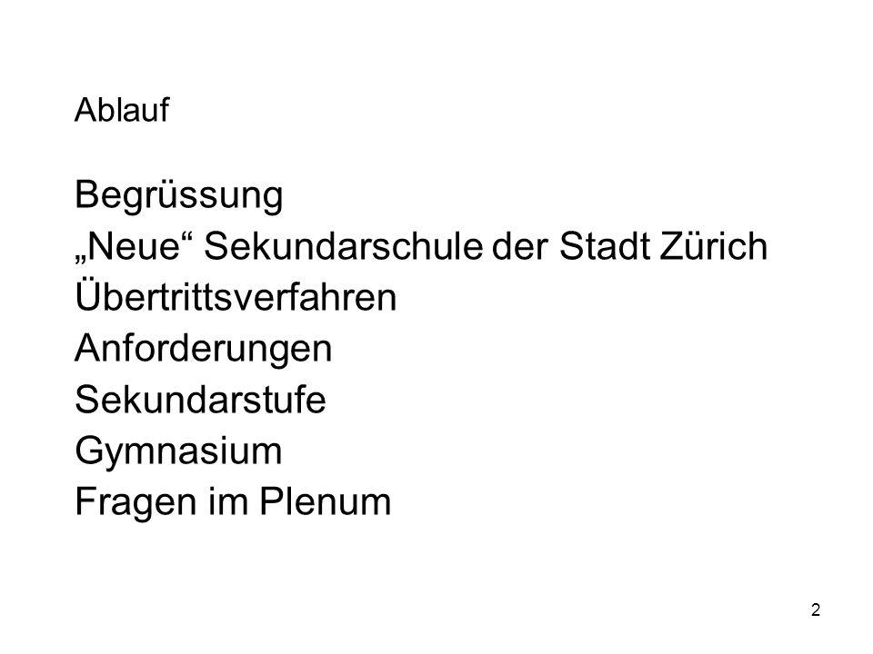 """""""Neue Sekundarschule der Stadt Zürich Übertrittsverfahren"""