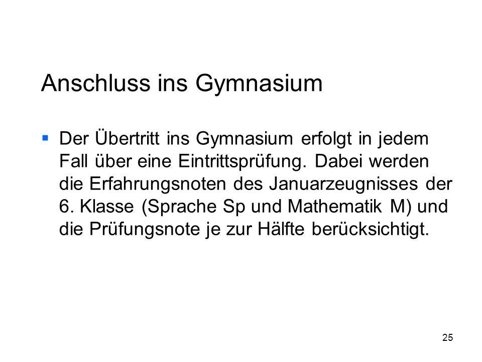 Anschluss ins Gymnasium