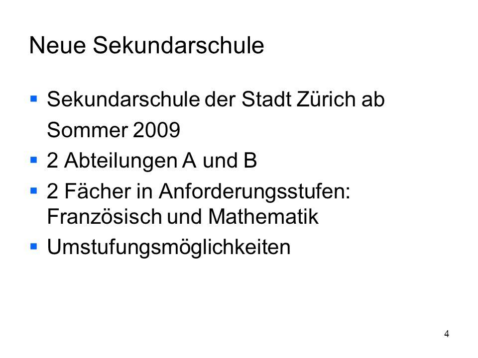 Neue Sekundarschule Sekundarschule der Stadt Zürich ab Sommer 2009