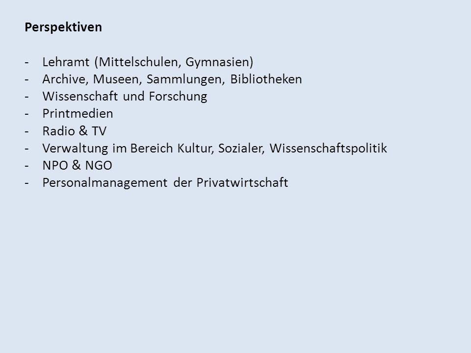 PerspektivenLehramt (Mittelschulen, Gymnasien) Archive, Museen, Sammlungen, Bibliotheken. Wissenschaft und Forschung.