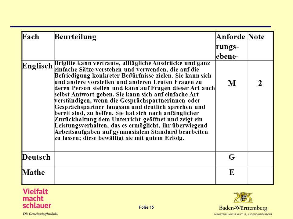Fach Beurteilung Anforderungs-ebene- Note Englisch M 2 Deutsch G Mathe