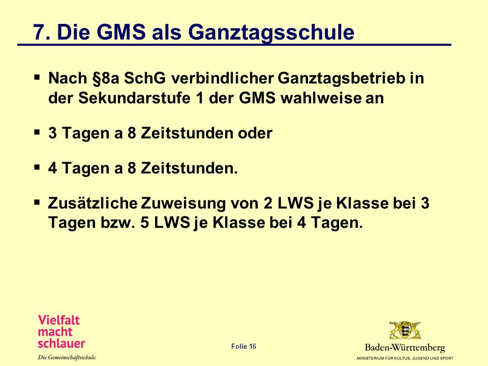 7. Die GMS als Ganztagsschule