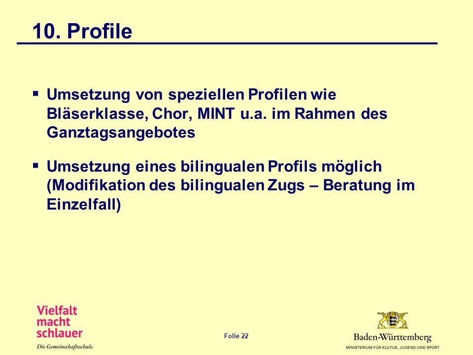 10. Profile Umsetzung von speziellen Profilen wie Bläserklasse, Chor, MINT u.a. im Rahmen des Ganztagsangebotes.