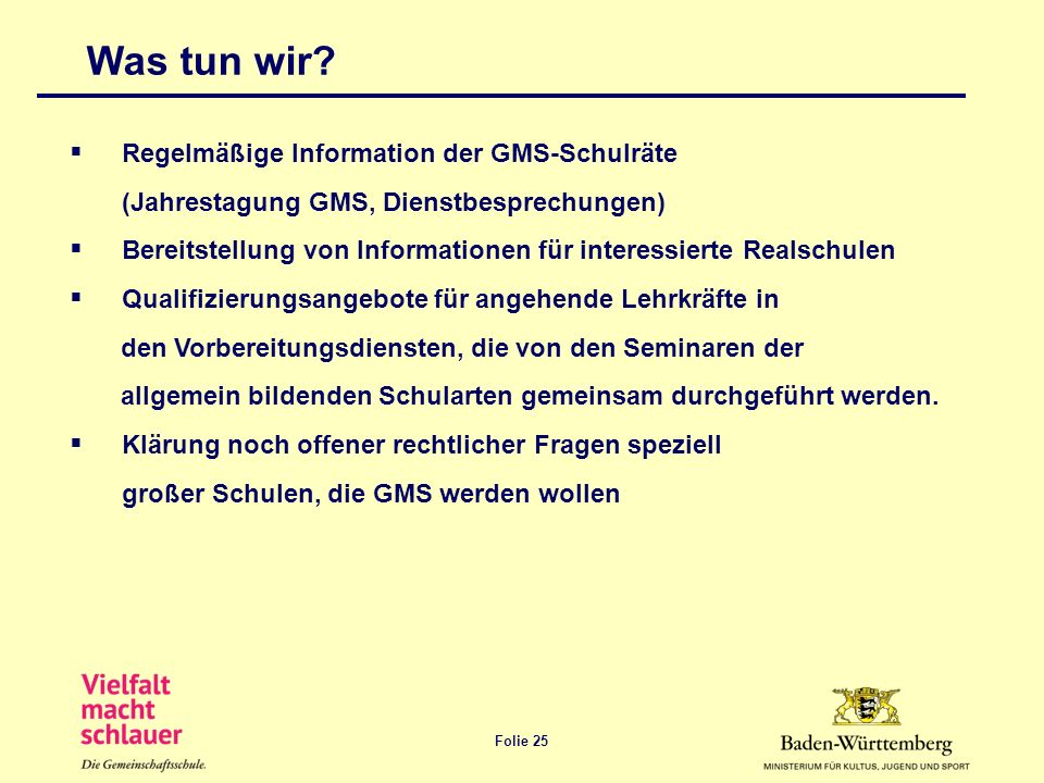 Was tun wir Regelmäßige Information der GMS-Schulräte