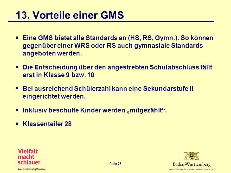 13. Vorteile einer GMS