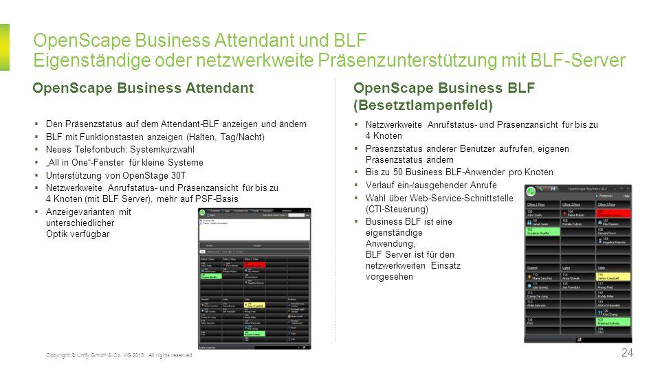 OpenScape Business Attendant und BLF Eigenständige oder netzwerkweite Präsenzunterstützung mit BLF-Server