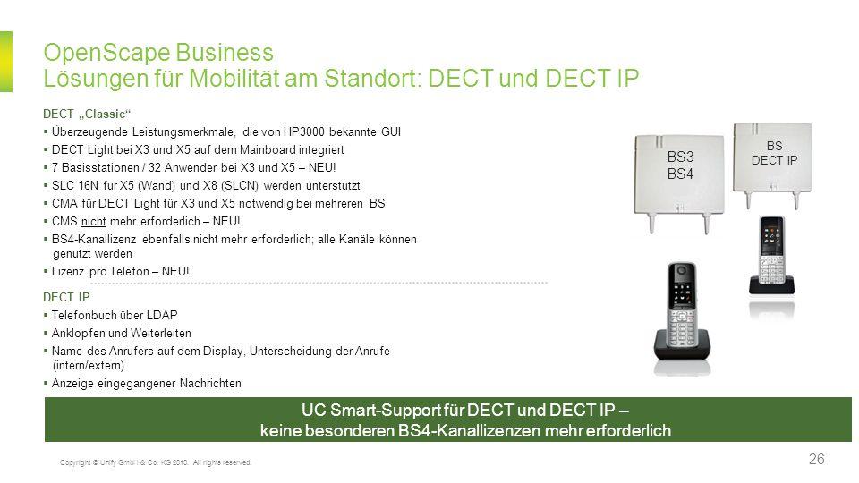 OpenScape Business Lösungen für Mobilität am Standort: DECT und DECT IP