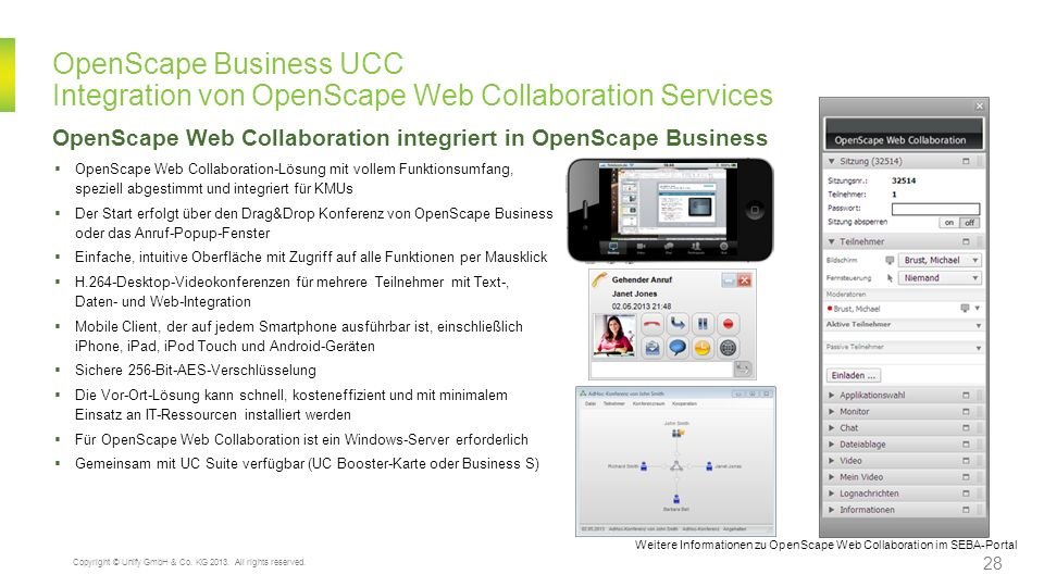 OpenScape Business UCC Integration von OpenScape Web Collaboration Services