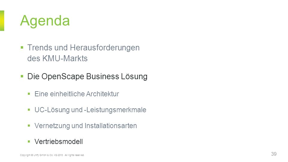 Agenda Trends und Herausforderungen des KMU-Markts