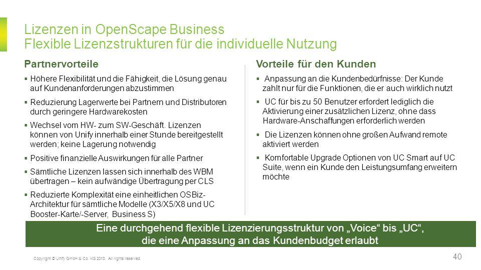 Lizenzen in OpenScape Business Flexible Lizenzstrukturen für die individuelle Nutzung