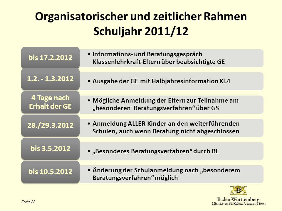 Organisatorischer und zeitlicher Rahmen Schuljahr 2011/12