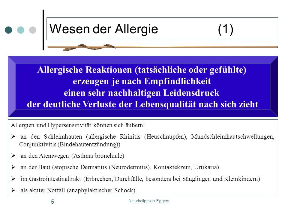 Wesen der Allergie (1) Allergische Reaktionen (tatsächliche oder gefühlte) erzeugen je nach Empfindlichkeit.