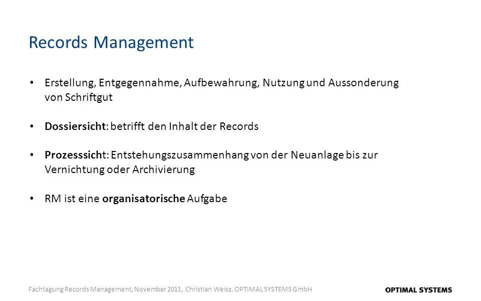Records Management Erstellung, Entgegennahme, Aufbewahrung, Nutzung und Aussonderung von Schriftgut.
