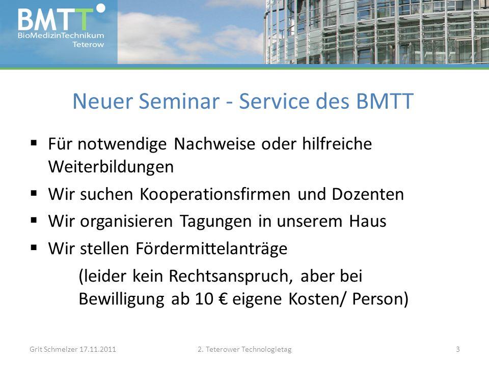 Neuer Seminar - Service des BMTT