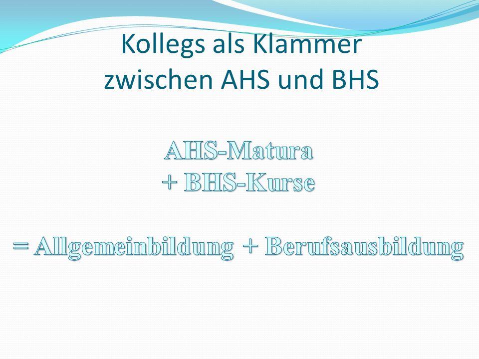 Kollegs als Klammer zwischen AHS und BHS