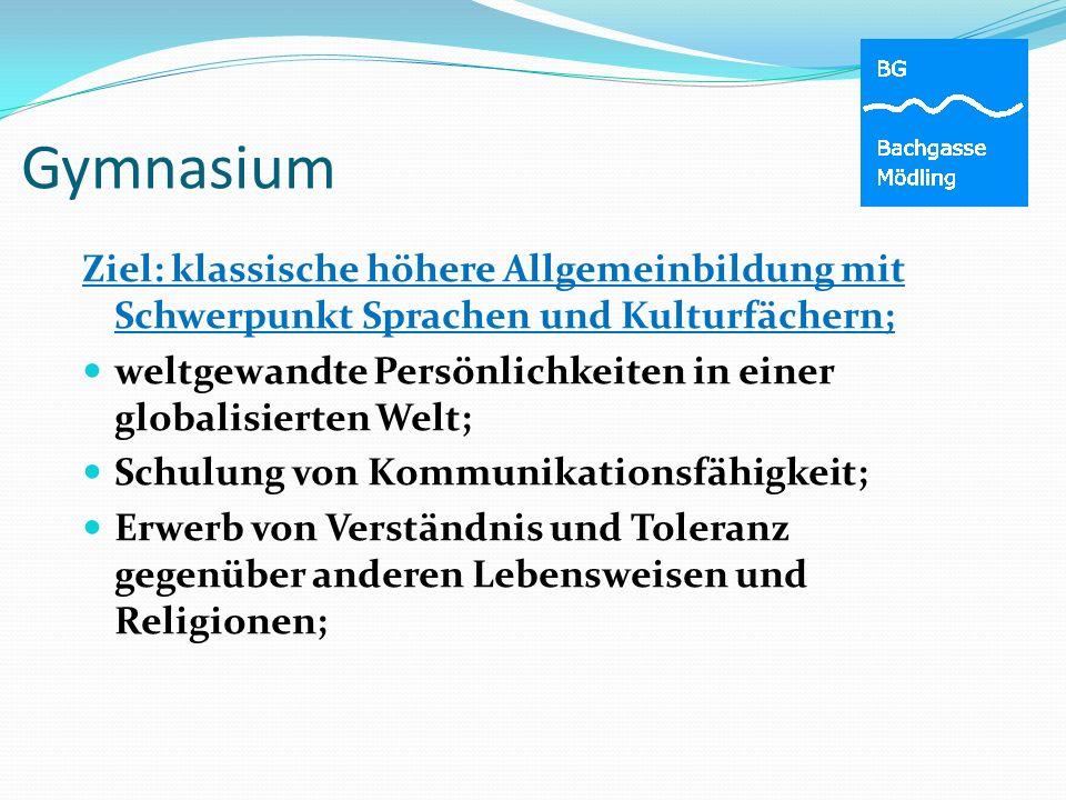 Gymnasium Ziel: klassische höhere Allgemeinbildung mit Schwerpunkt Sprachen und Kulturfächern;