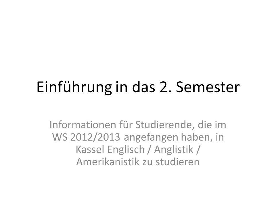Einführung in das 2. Semester
