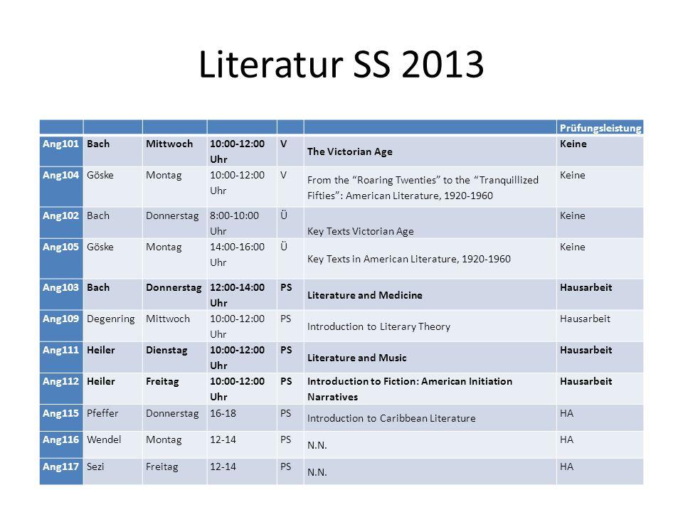 Literatur SS 2013 Prüfungsleistung Ang101 Bach Mittwoch