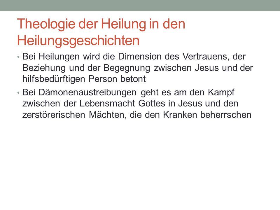 Theologie der Heilung in den Heilungsgeschichten