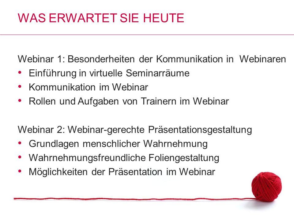 Was erwartet Sie heute Webinar 1: Besonderheiten der Kommunikation in Webinaren. Einführung in virtuelle Seminarräume.