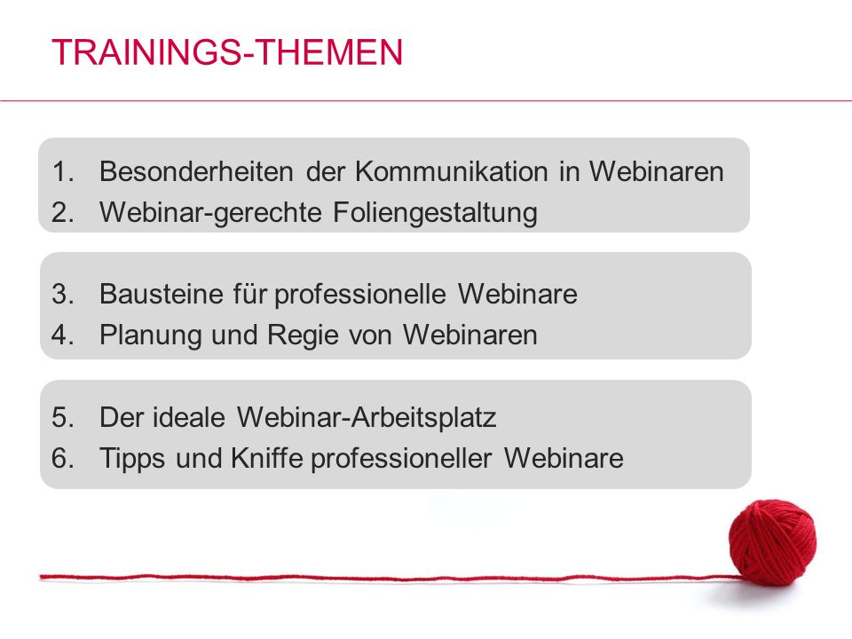 Trainings-Themen Besonderheiten der Kommunikation in Webinaren
