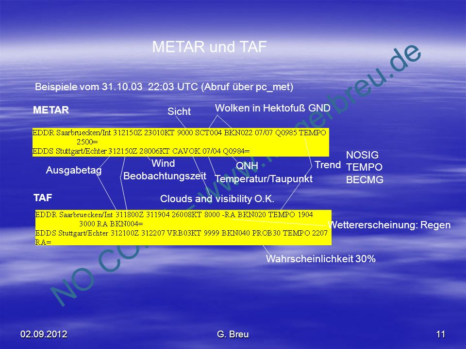 METAR und TAF Beispiele vom 31.10.03 22:03 UTC (Abruf über pc_met)