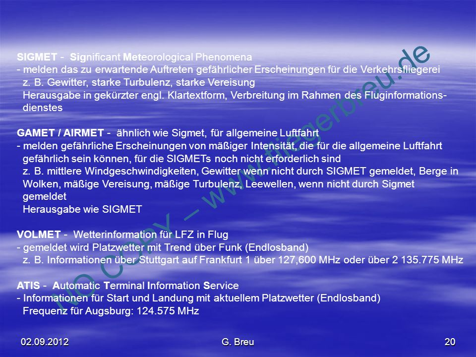 SIGMET - Significant Meteorological Phenomena