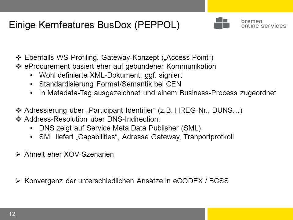 Einige Kernfeatures BusDox (PEPPOL)