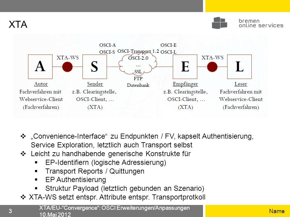 "XTA ""Convenience-Interface zu Endpunkten / FV, kapselt Authentisierung, Service Exploration, letztlich auch Transport selbst."