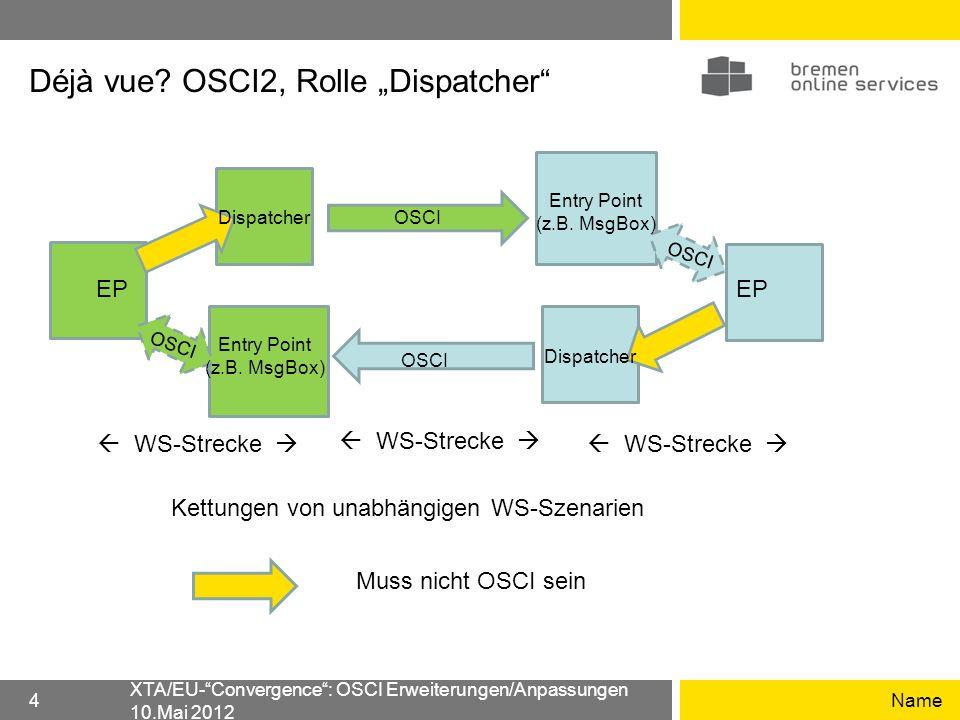 """Déjà vue OSCI2, Rolle """"Dispatcher"""