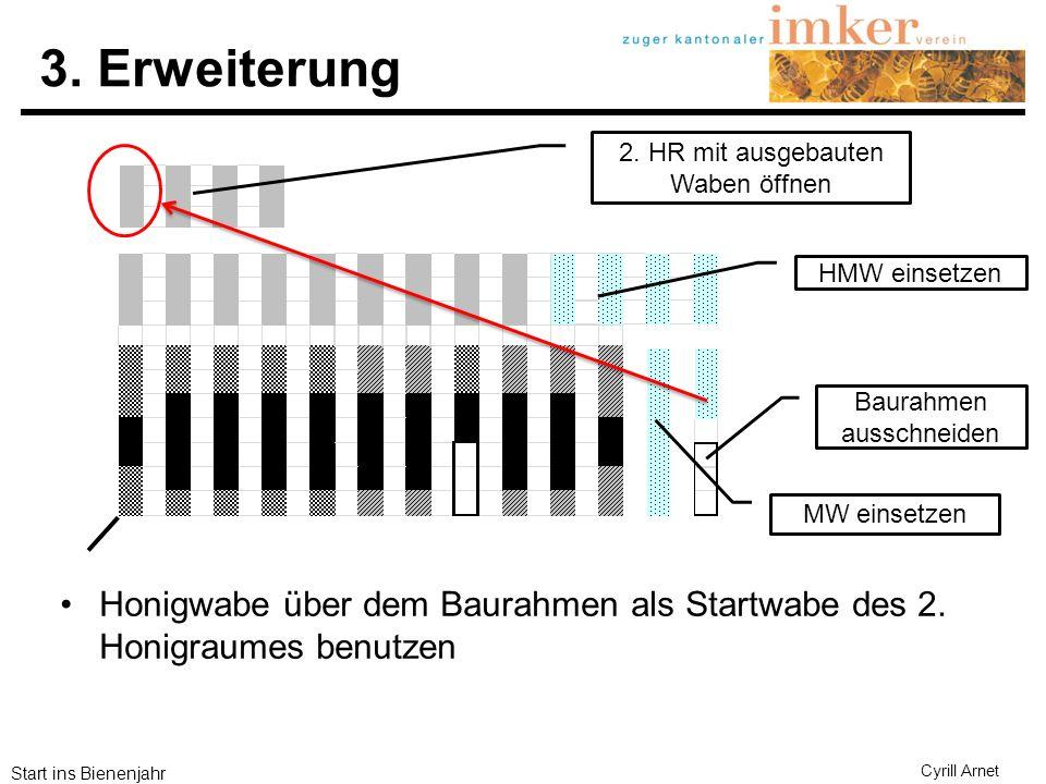 3. Erweiterung 2. HR mit ausgebauten Waben öffnen. HMW einsetzen. Baurahmen ausschneiden. MW einsetzen.