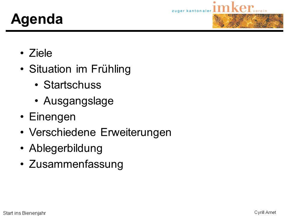 Agenda Ziele Situation im Frühling Startschuss Ausgangslage Einengen