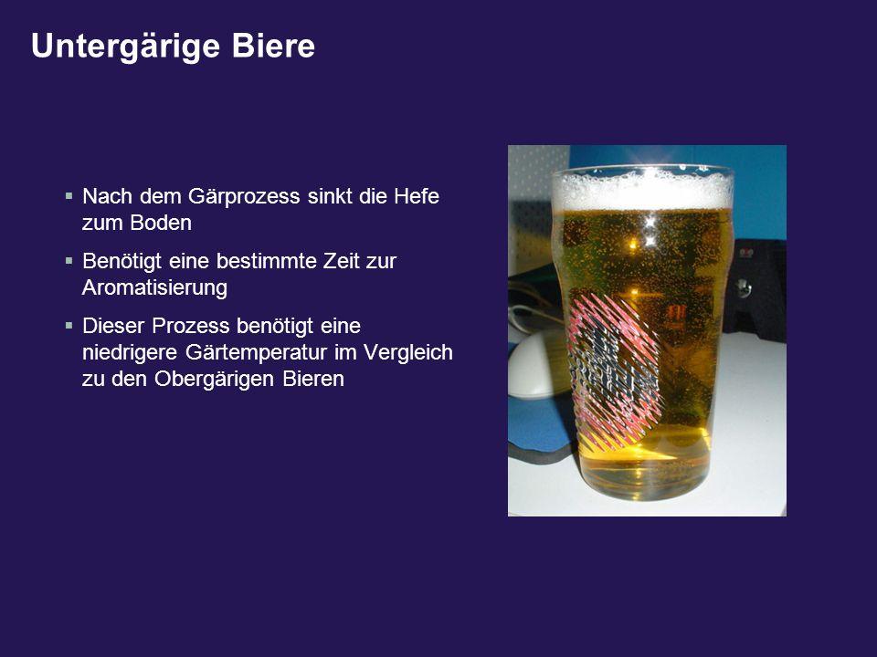 Untergärige Biere Nach dem Gärprozess sinkt die Hefe zum Boden