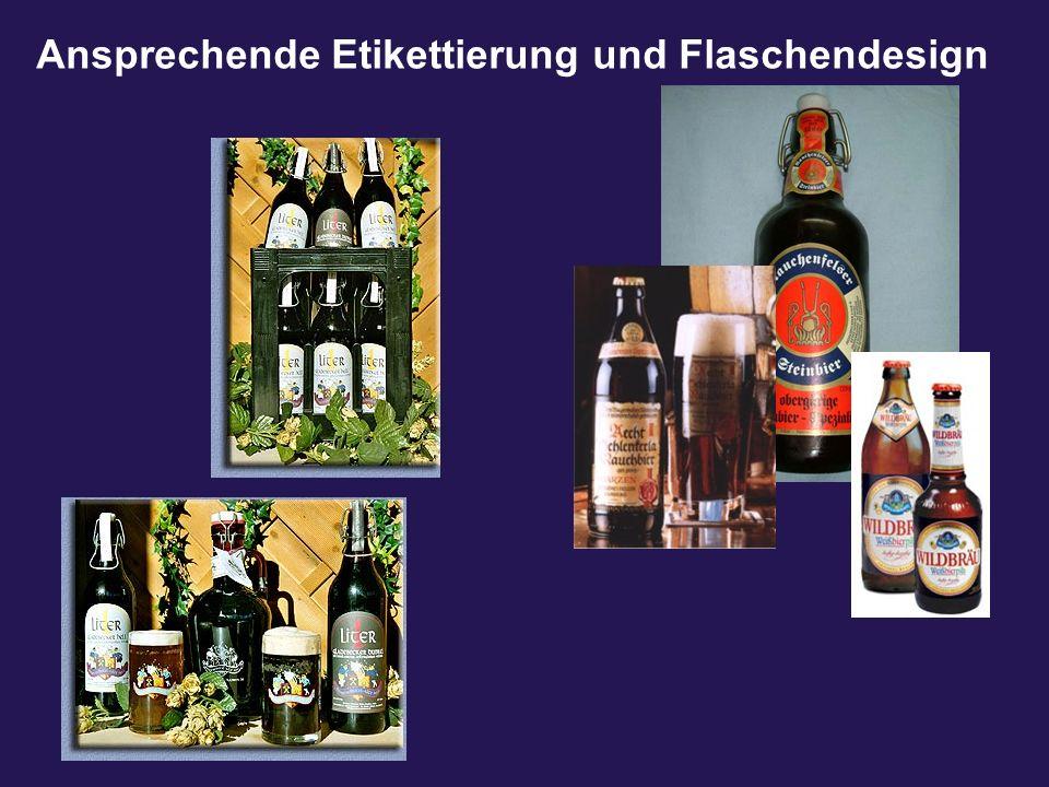 Ansprechende Etikettierung und Flaschendesign
