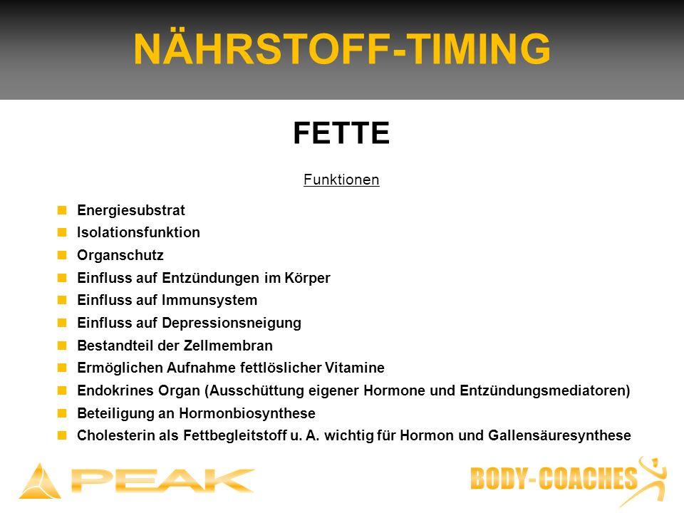 NÄHRSTOFF-TIMING FETTE Funktionen n Energiesubstrat